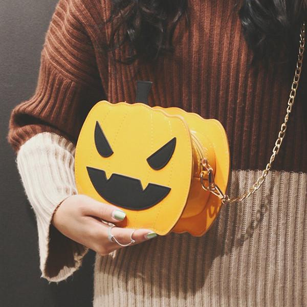 2019 de Halloween diseñador de moda de lujo cabeza de calabaza bolsa bolsos decoración de la cadena bolsa pequeña plaza diseñador del bolso de hombro crossbody