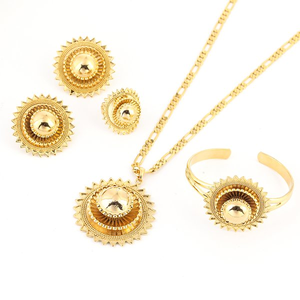 Ethiopian Small set Jewelry Necklace Earrings Ring 24k Gold Color African Bridal sets Habesha Eritrea Wedding