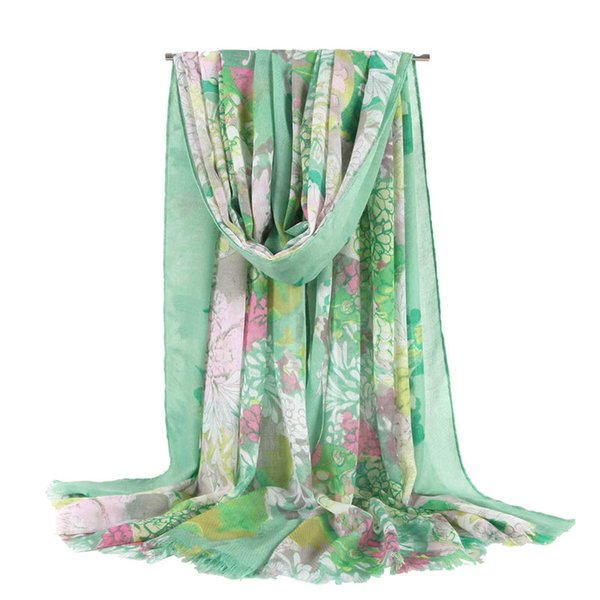 High-end printing ladies scarf brand designer ladies scarf ladies slim narrow pocket handle cotton and linen scarf double-sided printing