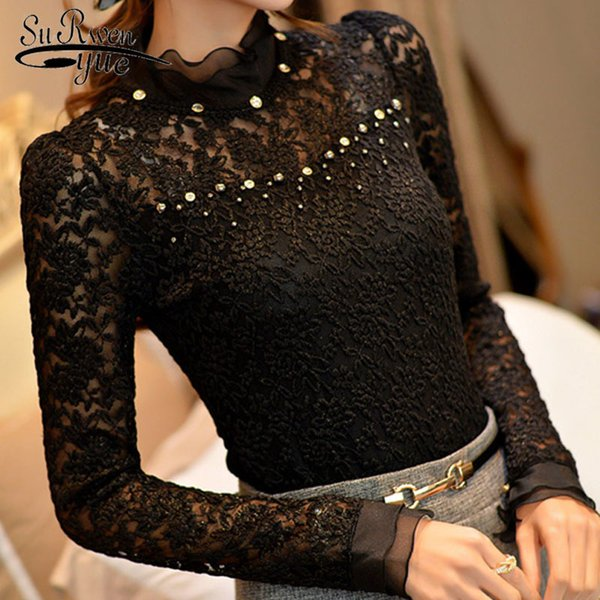 New Ruffled Collar Long Sleeve Blouses Shirts With Beaded Plus Size Lace Women Blouse Women Clothing Blusas Femininas 59a0 Y19050501
