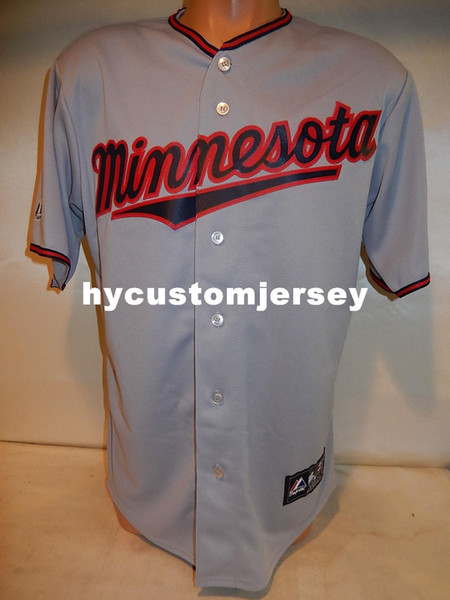 custom mens majestic minnesota blank button down baseball jersey gray mens stitched jerseys big and tall size xs-6xl for sale