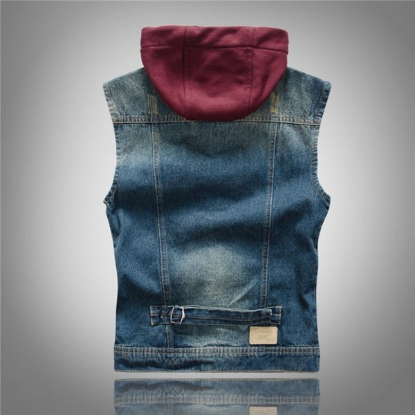 autumn mens waistcoat korean fashion casual punk style vintage hooded vests slim motorcycle hat detachable washed man denim coat