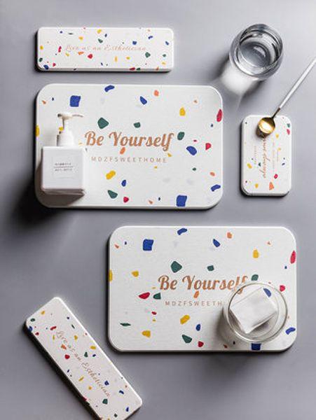 Terrazzo series diatomaceous earth absorbent pad bathroom household mat anti-skid quick-drying mat coaster