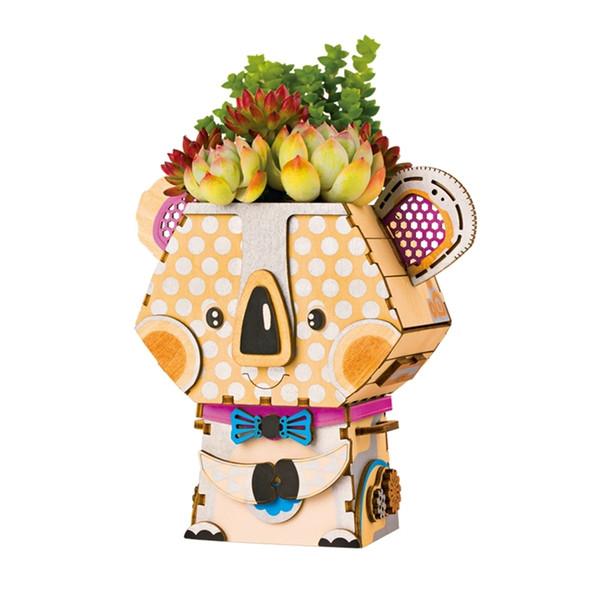 vente en gros mignon koala pot de fleur 3d jeu de puzzle en bois modèles éducatifs kits de construction jouets FT732 pour enfants