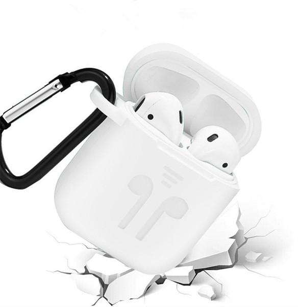 Funda de silicona suave para Airpods Air Pods A prueba de golpes Auriculares Cubierta protectora impermeable para iPhone X XR XS Accesorios para auriculares