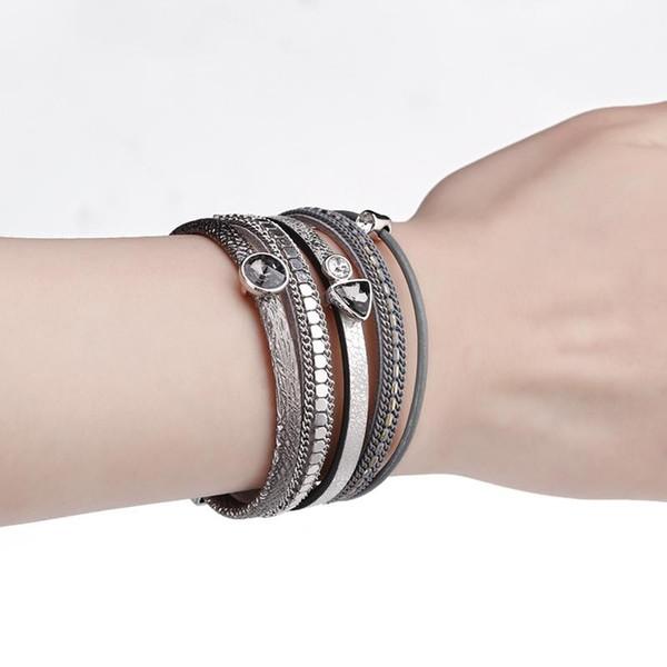 6 Couleurs MultiLayers Bracelet En Cuir Femmes Alliage Strass Perles Aimant Charme Style Wrap Bracelets Bracelets Bijoux