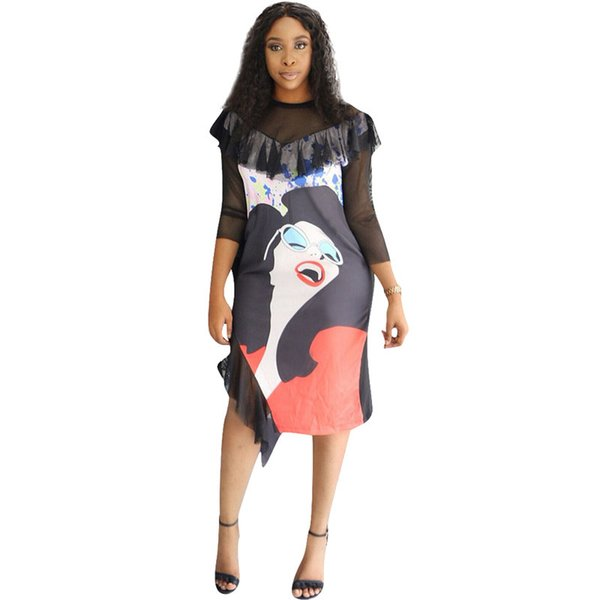 Mesh Black T Shirt Patchwork Dress Women Fall Half Sleeve Printed Bodycon Dress Casual Elegant Prom Dresses