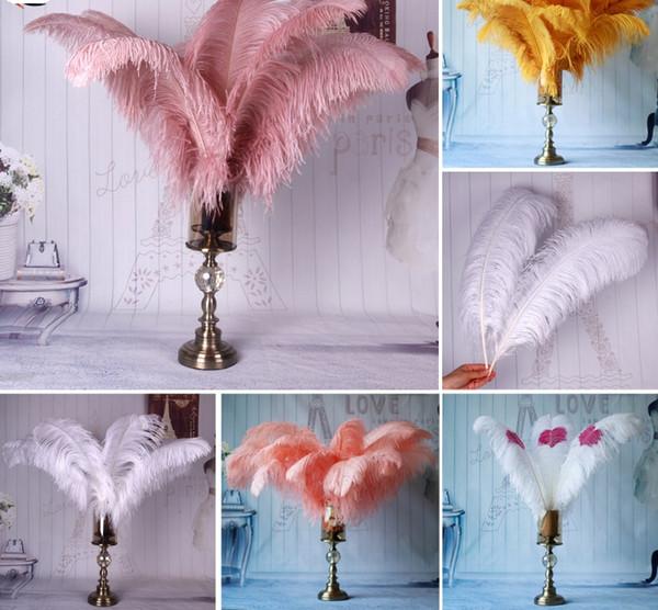 Commercio all'ingrosso 10 pz / lotto piume di struzzo rosa baby per artigianato 35-40 cm costumi di carnevale festa a casa decorazioni di nozze pennacchi decorazione della tavola