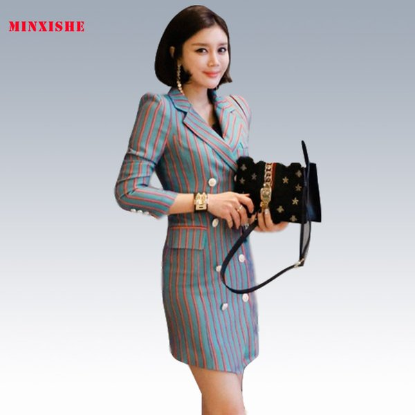 Summer New Women Dress 2019 Sexy Bodycon Elegant Striped Mini suit collar Casual Bandage hot party Korean style Wrap Club Dress