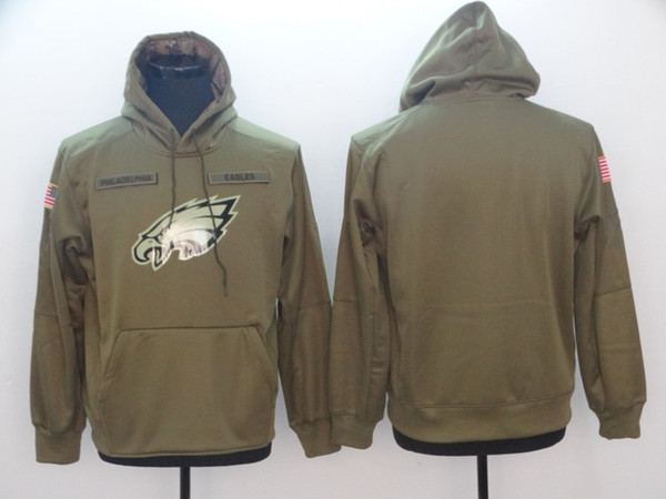 2018 Philadelphia Sweatshirt Eagles Men Women Youth Salute to Service Sideline Therma Performance Pullover Hoodie Olive