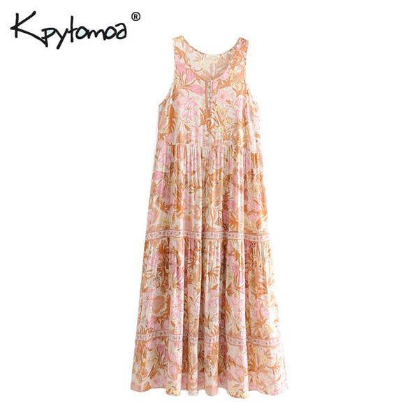 Boho Chic Vintage estampado floral plisado vestido largo mujer 2019 moda cuello redondo sin mangas verano playa vestidos Vestidos Mujer Y19073101