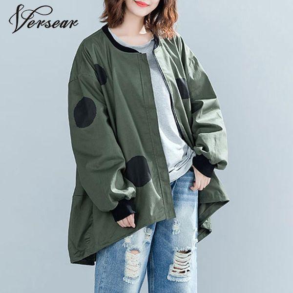Versear 2019 Autumn Winter Women Polka Dot Oversized Jacket Coat Casual Loose Cardigan Zipper Female Clothes Outerwear Jackets