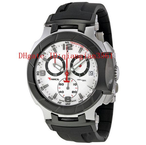 Free Shipping Men's T048 Quartz Watch T048.417.27.037.00 T-Sport T-Race MotoGP Black White Dial CHRONOGRAPH T0484172703700 Rubber band Watch