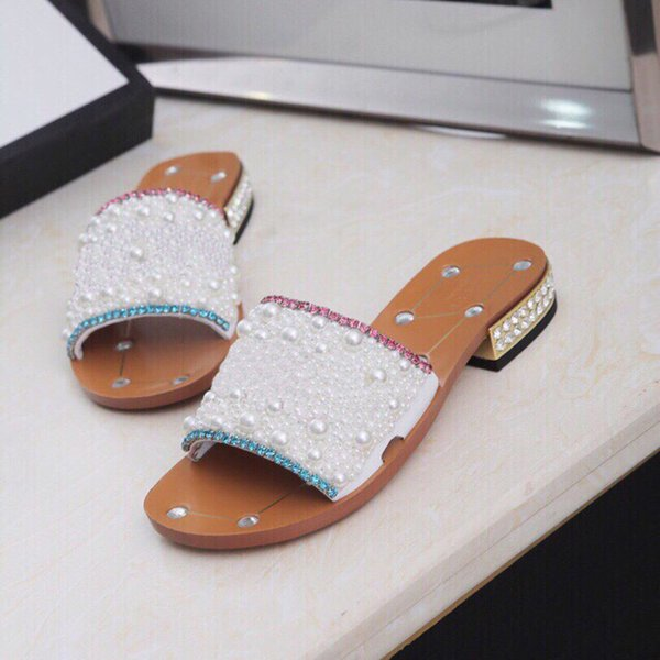 2019 Newest Women Rhinestone low-heel slippers Pearl Designer work summer women sandals dres shoe classic trend fashion BIG Size 43/12
