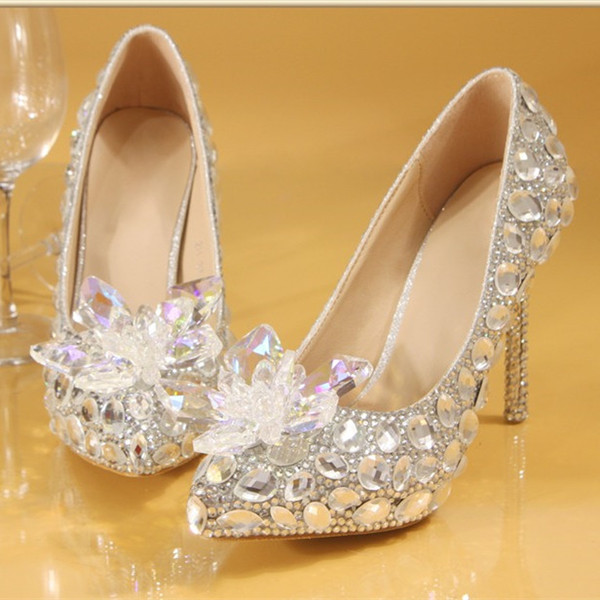 best selling Plus size 35 to 40 41 42 Luxury Women Designer Shoes Dreamy Cinderella Crystal Wedding Shoes Bride Rhinestone Shoes Come With Box