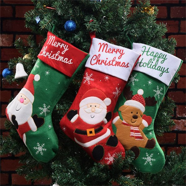 Christmas Stocking Gift Bag Noel Reindeer Santa Claus Snowman Socks Xmas Tree Candy Bag Ornament Gifts Decorations New Year