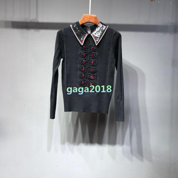 gaga2018 / High end Mulheres meninas manga comprida camisola Cabo knit Pullover cardigan lantejoulas pescoço t-shirt Multicolor blusa jacquard camisola outwear