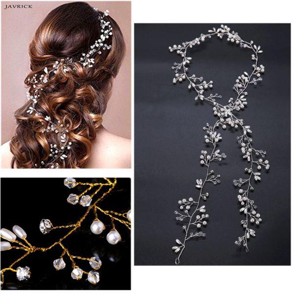 Luxury Wedding Bridal Rhinestone Faux Pearl Floral Headband Tiara Hair Chian Headpiece Women Jewelry Accessories Cheap