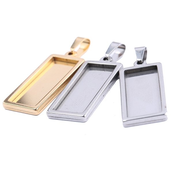 rectangle cabochon pendant base settings 10*25mm gold plated stainless steel blank bezel trays for pendant bracelet jewelry making