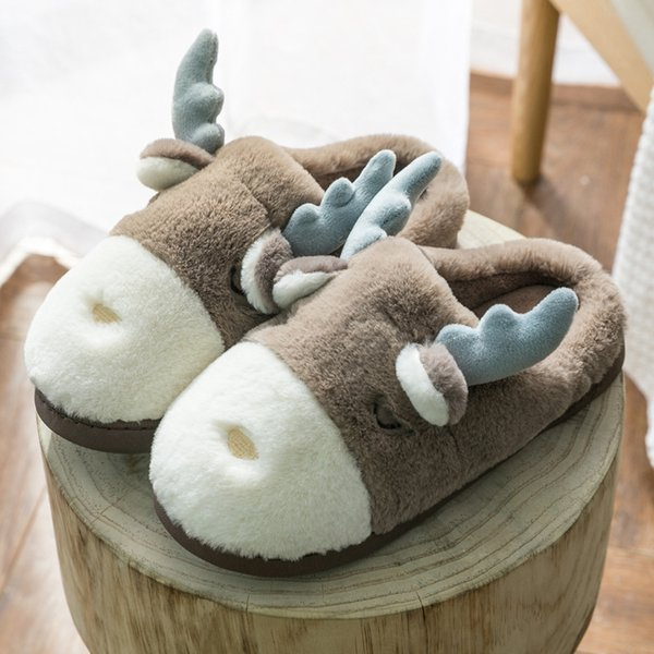 winter new cute antlers warm women slipper warm thick bottom nonslip floor couple home slippers indoor cotton slipper moon shoes