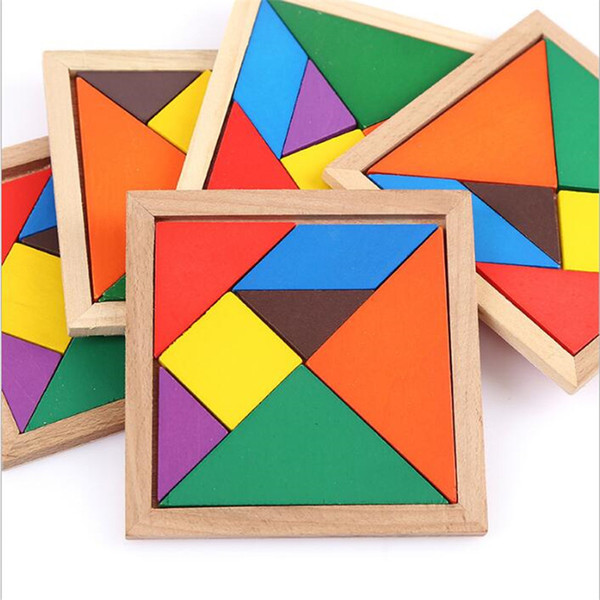 best selling Wooden Tangram 7 Piece Jigsaw Puzzle Colorful Square IQ Game Brain Teaser Intelligent Educational Toys for Kids