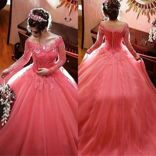 С плеча с длинным рукавом дешевые платья выпускного вечера кружева аппликации покрыты пуговицы вечерние платья Quinceanera платья vestido de noche