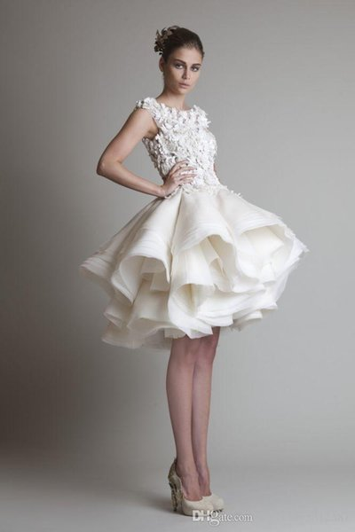 Bateau Sleeveless A-Line Mini Beach Wedding Bridal Dresses 2019 New Krikor Jabotian Organza Ruffles Short Wedding Dress 030