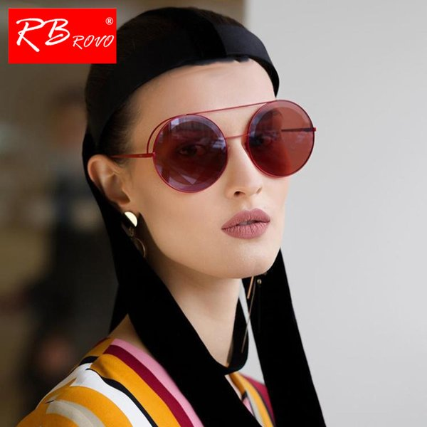 RBROVO 2019 Punk Yuvarlak Güneş Kadınlar Alaşım Gözlük Kadınlar Klasik Lunette Soleil Homme Gözlük Erkekler Ve UV400