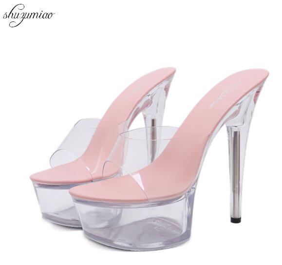 Pantoufles D'été Femmes Chaussures 2018 Nouveau Sexy Chaussures à Talons Hauts 15 CM Imperméable Table Pantoufles Transparent Cristal Chaussures De Mariage