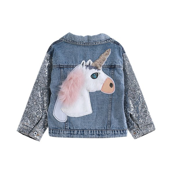 Unicorn Kızlar için Denim Ceket Mont Çocuk Giyim Sonbahar Bebek Kız Giysileri Giyim Jean Ceketler Mont Çocuk Kız için