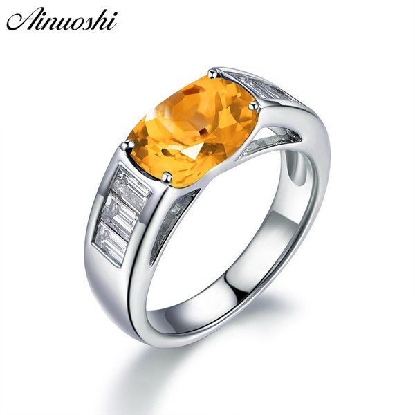 ainuoshi classic natural citrine ring 4 oval cut gemstone engagement party jewelry genuine 925 sterling silver women ring, Golden;silver