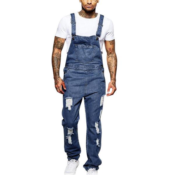 CHAMSGEND Men's Overall Street Casual Jumpsuit Jeans Washed Hole Pocket Modis Pantalon Homme Pants Suspenders