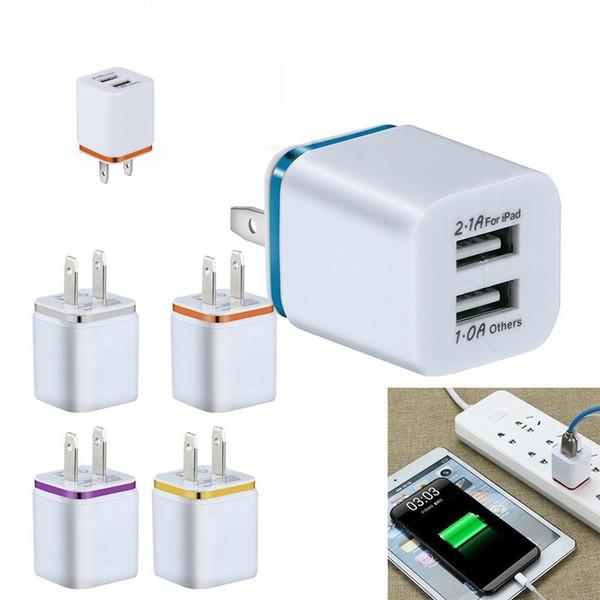 Двойное зарядное устройство usb для Iphone 7 8 X Samsung S9 S10 S8 2 USB зарядное устройство 5V 2.1 A 1A металлический адаптер для путешествий США EU plug AC адаптер питания