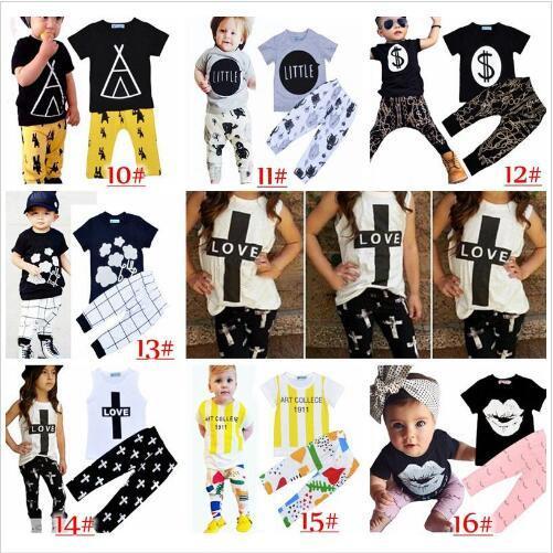 Vêtements pour enfants Ins Vêtements Ensembles Mode d'été bébé Costumes filles Lettre Pantalons T-shirt nourrisson Tenues Casual garçons Ins Tops Sarouel B5253