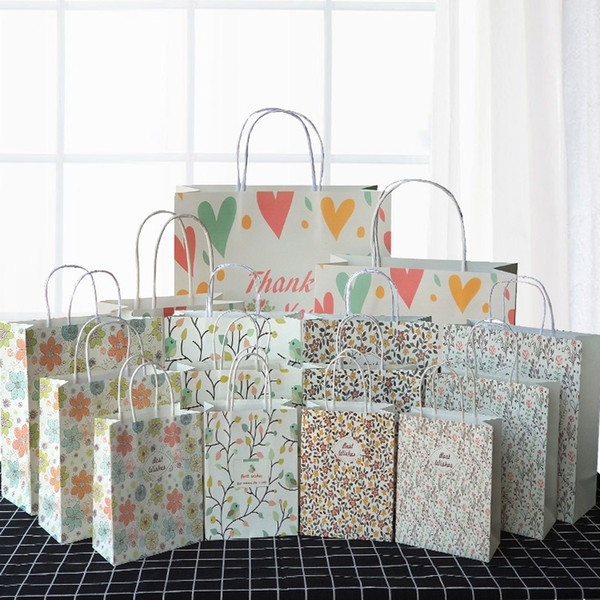 Craft Paper Carrier Bag Wedding Holiday Birthday Printed Gift Bag Paper Medium Shop Bag Party Supplies