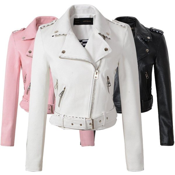 best selling Size S-XL Fashion new Autumn Winter Women Leather Coat Female Slim Short Leather Jacket Women's Outerwear 4 Color Good Quality