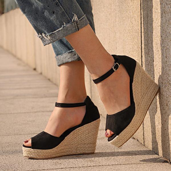 Plus La Taille Bohème Femmes Sandales Cheville Sangle Straw Plate-Forme Coins pour Femmes Chaussures Flock Talons Hauts Couverture Talon Sandale