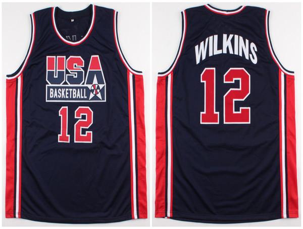 1994 Équipe olympique Dream États-Unis Dominique Wilkins Jersey de basket-ball rétro # 12 pour hommes cousu Numéro de maillot personnalisé