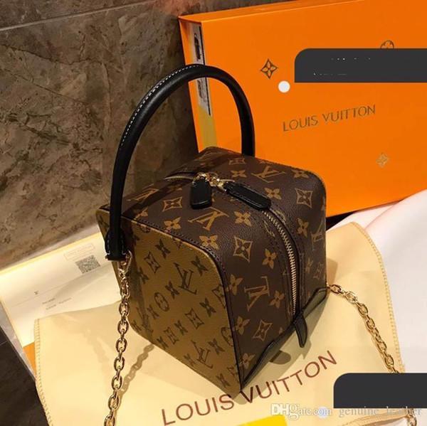 2019 Brand Designer Damen Luxus Rivoli Petite Malle Square Handtaschen Braun Leder Lady Fashion Top Griff Party Flower Tote Mit Box