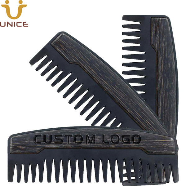 best selling MOQ 100pcs Preminum OEM Custom LOGO Comb Wide Teeth Metal & Wooden Beard Comb Oil Hair Combs for Men