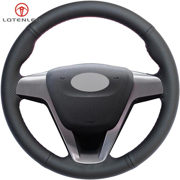 LQTENLEO Black Artificial Leather DIY Hand-stitched Car Steering Wheel Cover for Lada Vesta 2015-2017