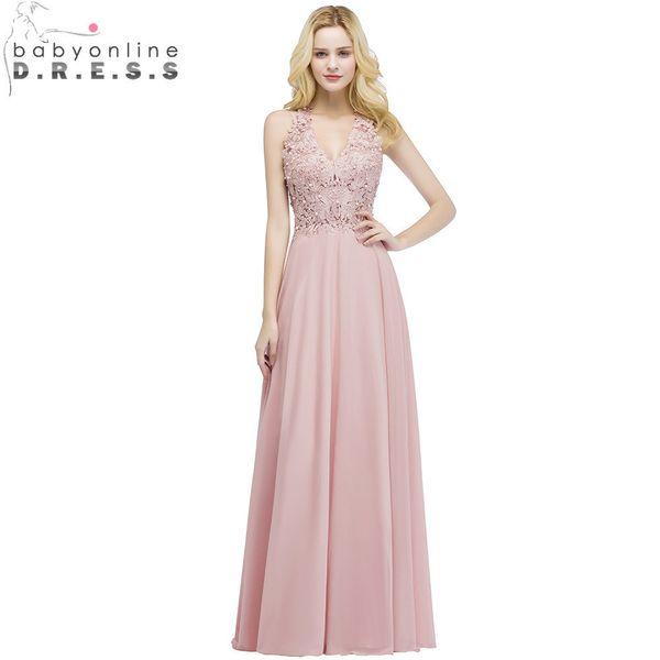 b3bbd3d92 Babyonlinedress sexy cuello en V de encaje de gasa rosa vestido de noche  largo elegantes vestidos