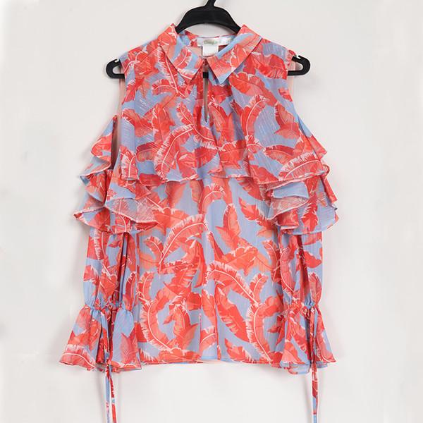 PERHAPS U rot lässig halbe Hülse Bogen Blumendruck drehen dwon Kragen Graben Schulter Chiffon Bluse Shirt Frauen Sommer B0561