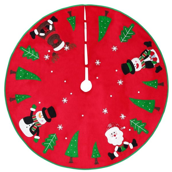 unomor 42 inch red christmas round tree skirt with snowman santa claus elk christmas tree ornaments xmas cover decor a20