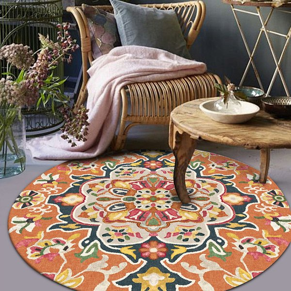 bohemian style mandala pattern round carpet non-slip bath mat soft fluffy coral velvet area rug for living room study room decor