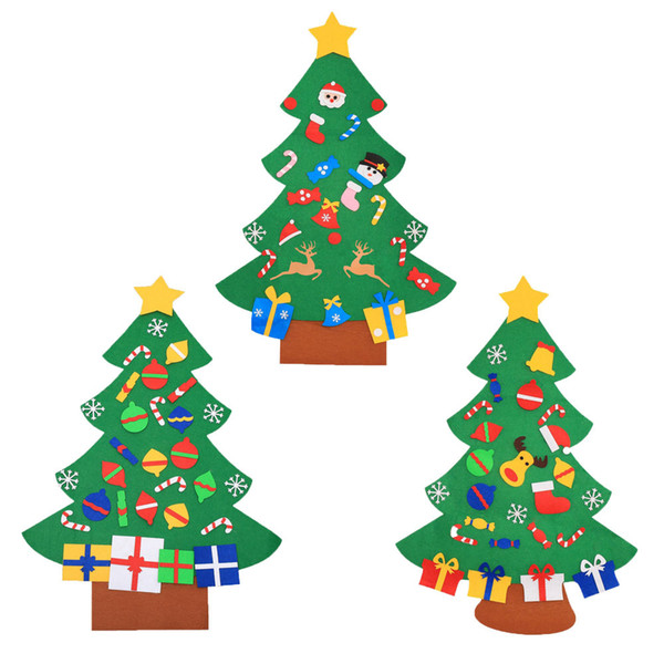 50pcs Felt Christmas Tree With Pedant Ornaments Christmas Gifts New Year Door Wall Hanging Xmas Decoration Kids Manual Accessories