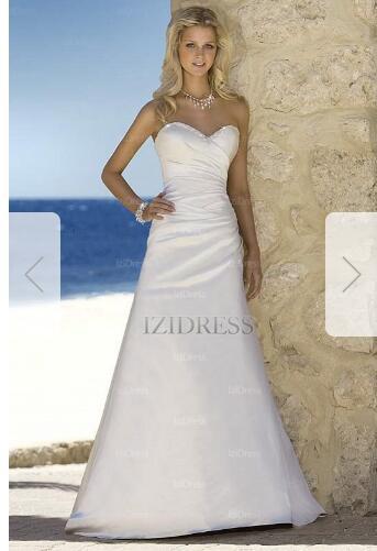 A-Line/Princess Strapless Sweetheart Court Train Satin Wedding Dress k