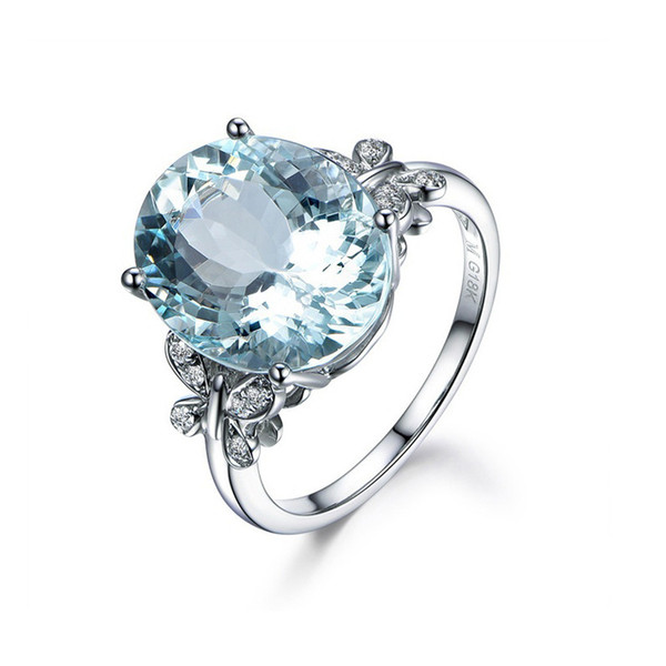 New Zinc Alloy Engagement Rings for Women White Gold Trend Butterfly Knuckle Rings with Big Stones Blue