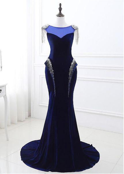Venda por atacado - Sexy Velvet Jewel Sereia Vestidos de Renda Applique frisada lantejoulas Prom vestidos de noite Custom Made formal vestidos de festa