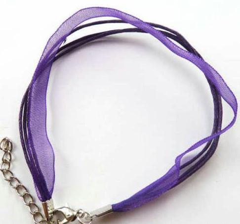 100pcs/lot Hot ! PURPLE New Organza Ribbon & Cord Necklace - Clasps Necklace JEWELRY Making Chains